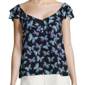 Nanette Lepore Silk Butterfly Flutter Sleeve Top